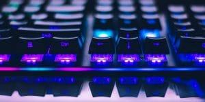 ABT keycaps on a mechanical keyboard.