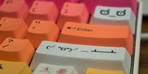 Custom keycaps on a mechanical keyboard.