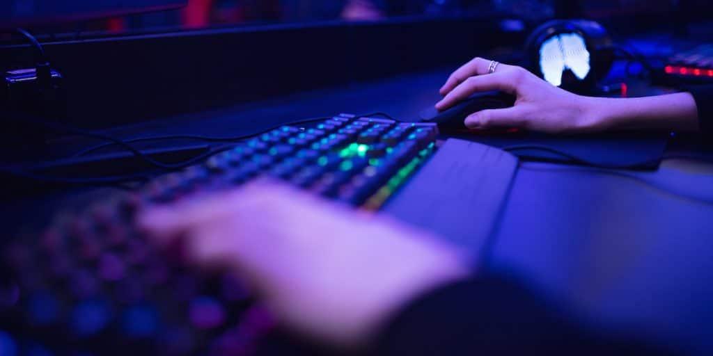 Gamer on a mechanical keyboard